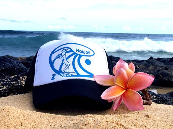Surfer girl Snapback Cap in Sky Blue by Ambient Aloha. Made in Honolulu Hawaii. Surfer Chic, Plumeria, sun and barrels!