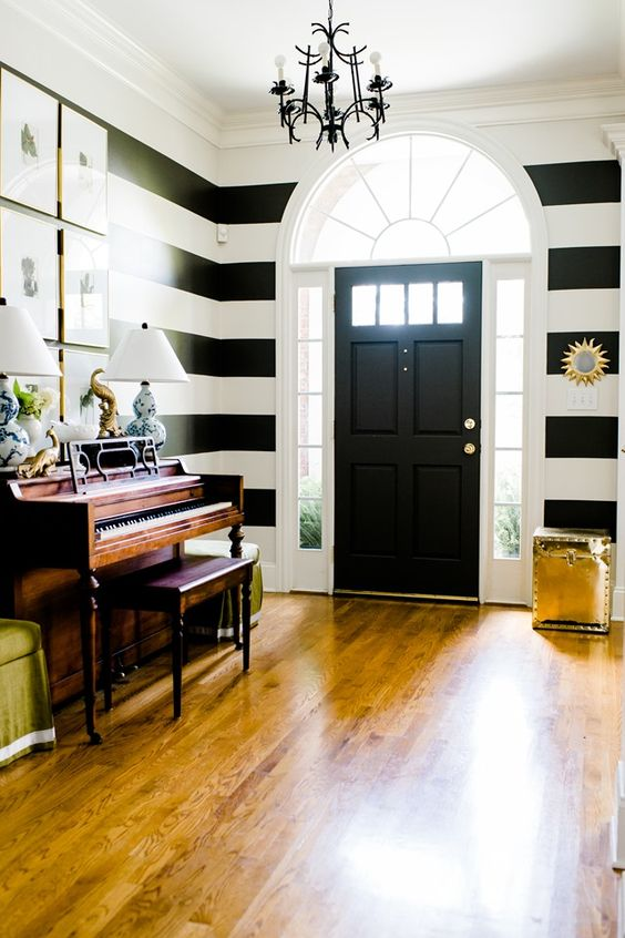 Choosing Paint For An Open Floor Plan - striped foyer, entryway, black and white