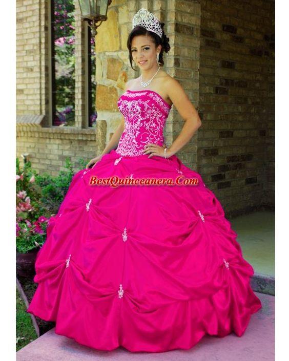 sweet 16 dress dark pink  Pink Quinceanera Dress 3011FU-1Hot ...