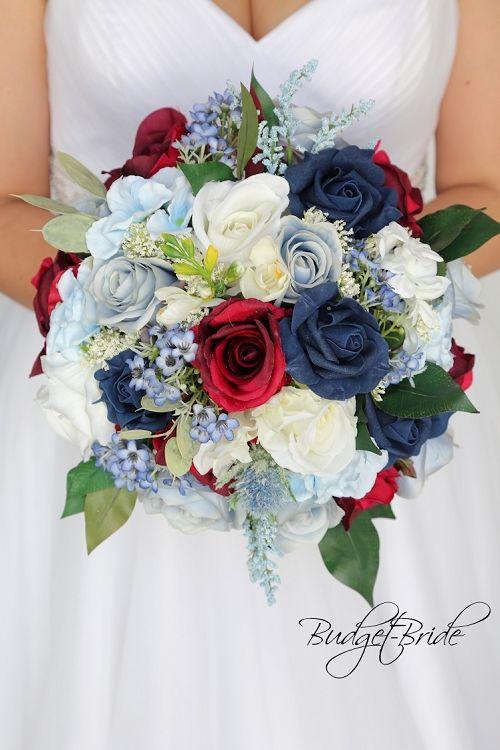 Burgundy Roses Navy Blue Baby Blue White Wild Flower Look Round
