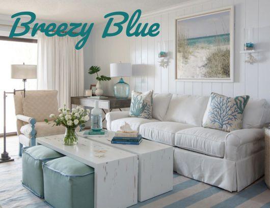 Breezy Blue Coastal Living Room Design Idea With Cabana Striped Rug Beach Wall Art And More Fo Condo Living Room Beach House Living Room Coastal Living Rooms