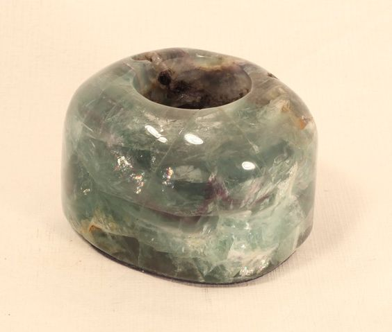 fluorite votive/tealight holders are large, heavy about 2 pounds each