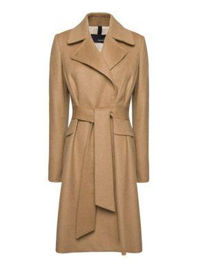 Mango Belted wool coat Camel - House of Fraser
