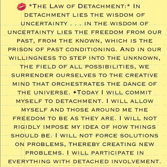 The Law of Detachment - The Seven Spiritual Laws to Success by Deepak Chopra book: http://www.amazon.com/dp/8189988042 Video: http://www.youtube.com/watch?v=xfgt2M0r4bQ: