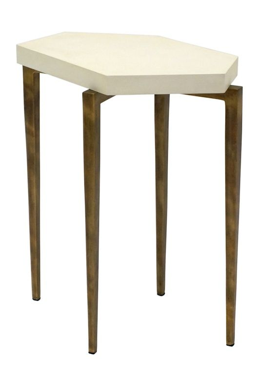 Small Shaped Ivory Parchment Topped Drinks Table On Gilded Metal
