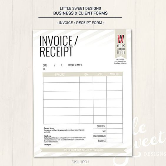 Photography Studio Invoice Receipt Form Photoshop Template for – Receipt Form Template
