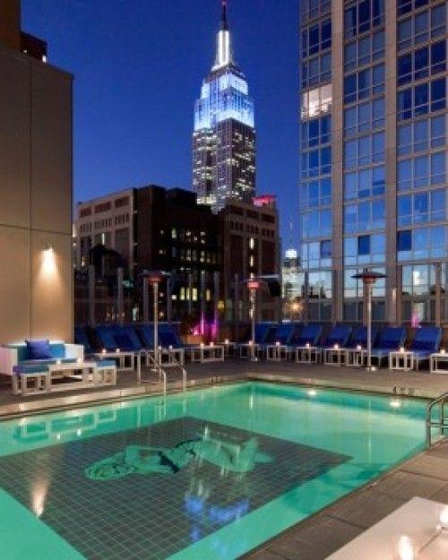 New York City's only indoor-outdoor heated rooftop pool. Gansevoort Park Avenue, New York.