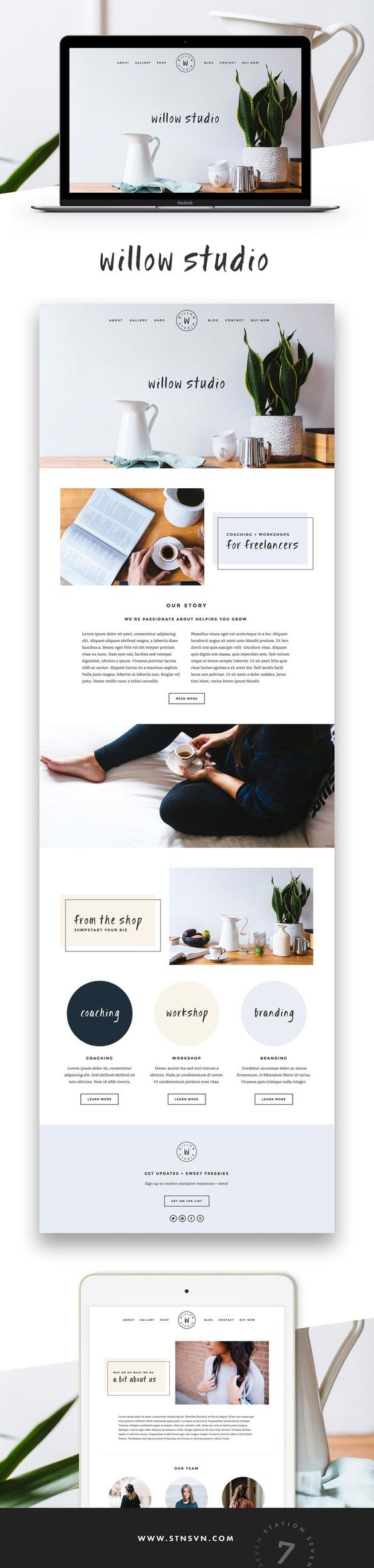 Willow squarespace template for Squarespace portfolio templates