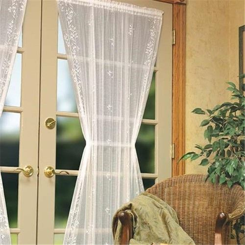 White Heritage Lace Sheer Divine Door Panel 42 by 36-Inch