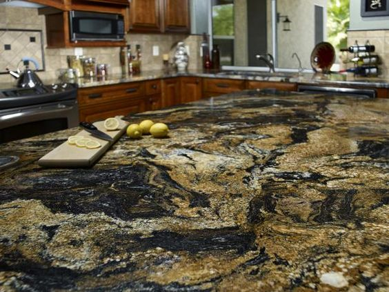 Quarried in Brazil, this limited production granite surface is a bold choice for top-of-the-line kitchens.