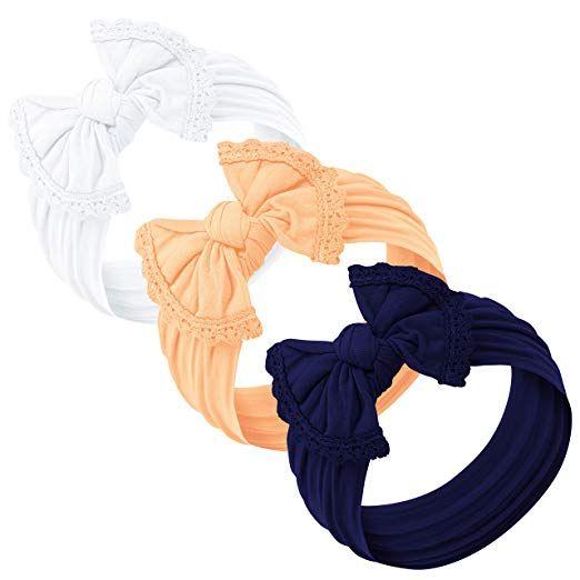 Baby Girl Headbands and bows Nylon Headband Fits newborn toddler infant girls