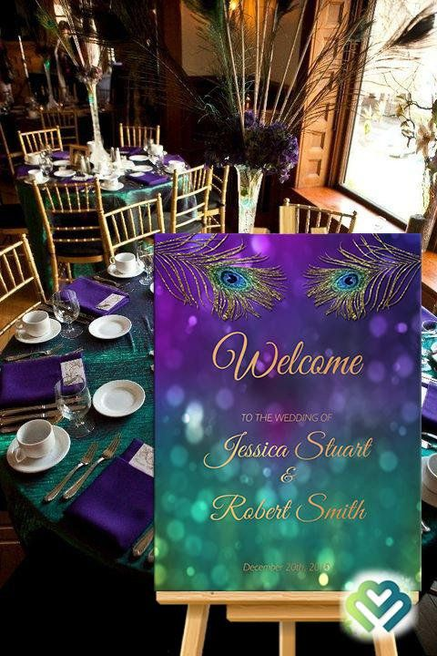 Peacock Wedding Welcome Sign Printable Peacock Purple Gold Etsy Wedding Welcome Signs Purple And Gold Wedding Wedding Reception Decorations