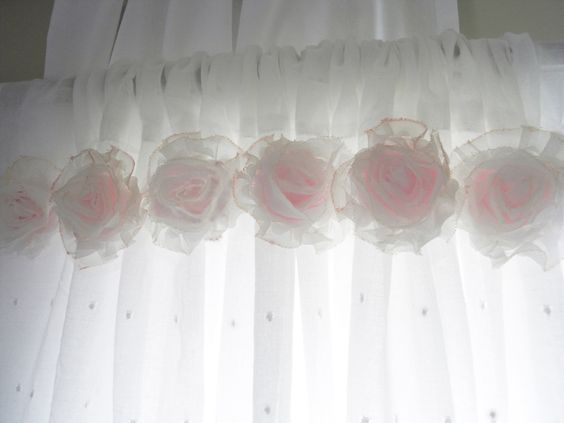 Shabby Chic Pink Flower Curtains...Baby Nursery Curtains...Girls ...