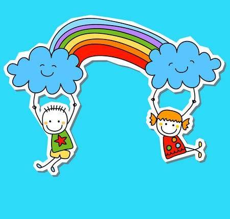 Bambini Felici Con Arcobaleno Disegno Di Cartoni Logo Bambini Immagini