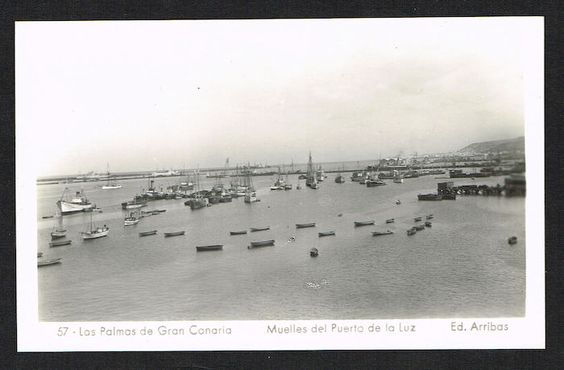 Harbor Docks Puerto de la Luz Las Palmas de Gran Canaria SPAIN 1950s photo PC