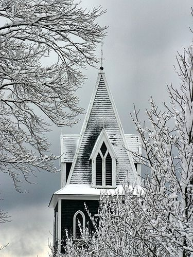 Fewer and fewer churches build real steeples now and I miss them.  They point us heavenwards.: Churches Cathedral, Country Church, Beautiful Church, Winter Scene, Winter Church, Winter Wonderland,  Church Building