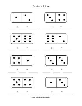 Addition Worksheets : domino addition worksheets kindergarten ...