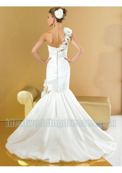 Fashion Flower One shoulder with Rouched Bodice in Sexy Mermaid Skirt Cheap Custom Made Wedding Gowns WD-0386