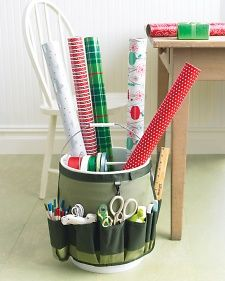 Go-Anywhere Bucket for Wrapping Paper |  Martha Stewart: Bucket Caddy, Gift Wrapping, Wrapping Papers, Wrapping Station, Diy Craft, Wrapping Bucket
