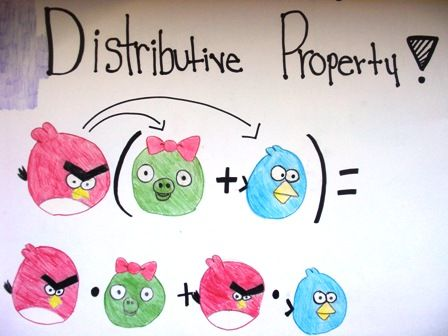 Angry Birds used in a math art center to illustrate the distributive property of multiplication over addition.