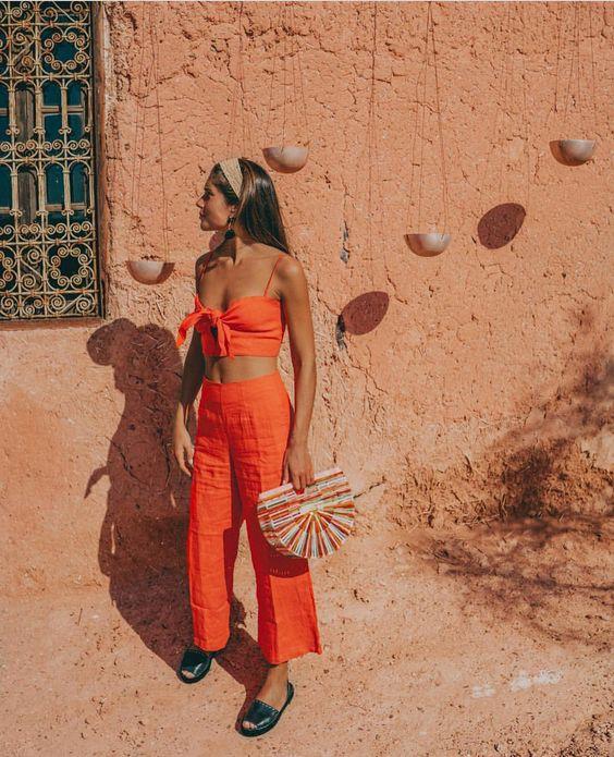 @belenhostalet wears the De Fiori Top & Tomas Pants Plain Tangerine while in Marrakech • Online Now #faithfulltravels