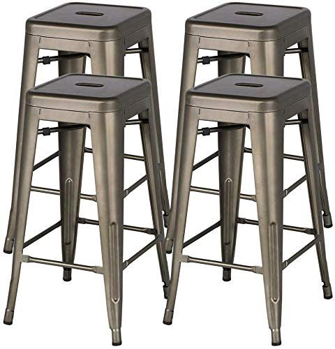 New Yaheetech 30 Inches Metal Bar Stools High Backless Bar Height
