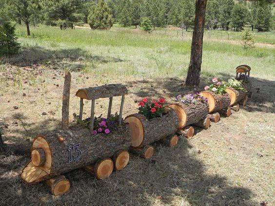 Troncos de madera macetas and trenes on pinterest for Maquetas de jardines