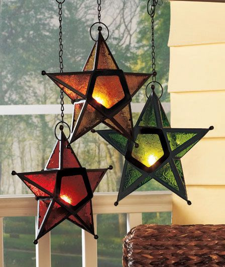 Outdoor Hanging Tea Lights: Outdoor Glass Hanging Star Candle Holder Tea Light Country