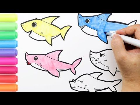 Coloring Baby Shark Family Coloring Page|How to draw Pinkfong Baby ...