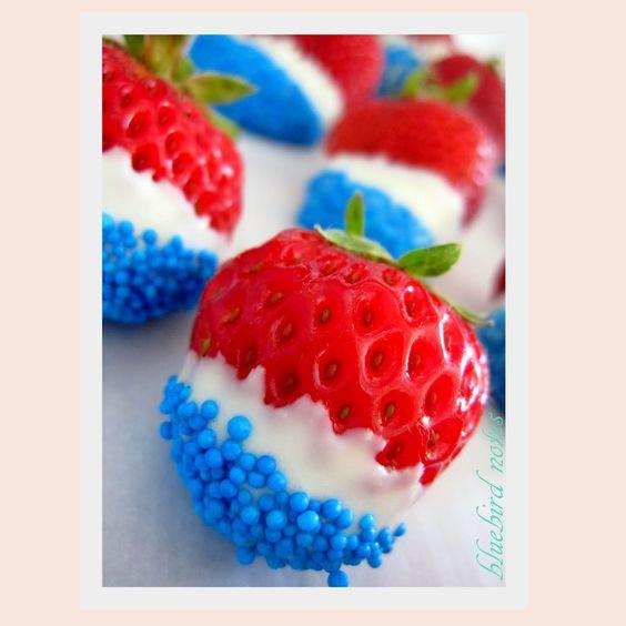 dip strawberries in white chocolate, then blue sprinkles