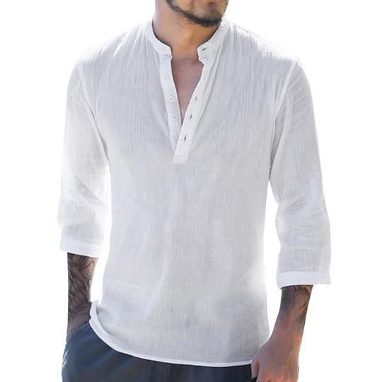 Men/'s Shirt White Cotton Button Down Shirt Casual Hippie Beach Yoga Top Summer