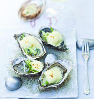 Huîtres chaudes au sabayon de poireaux / Recipe hot oysters in the zabaglione of leeks