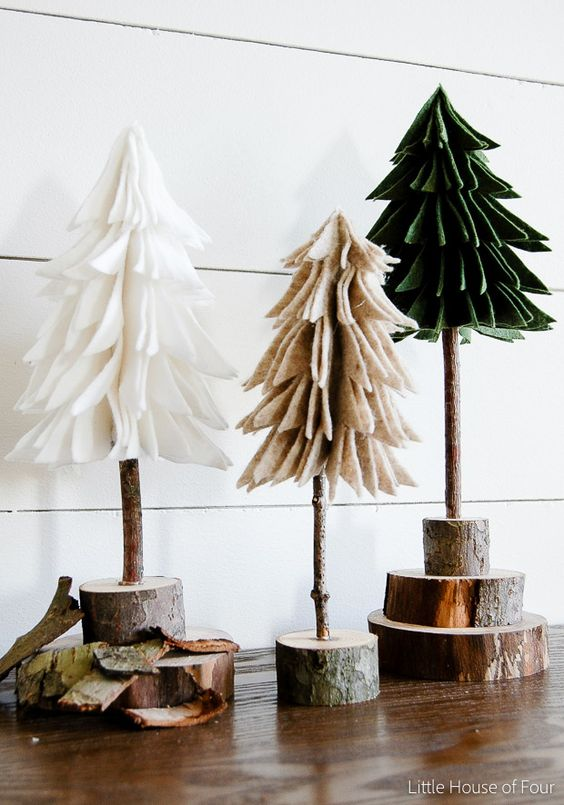 holiday diy: rustic felt christmas trees: