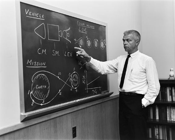 Space History Photo: John C. Houbolt stands at a blackboard, showing his space rendezvous concept for lunar landings on July 24, 1962. Lunar Orbital Rendezvous (LOR) would be used in the Apollo program. Although Houbolt did not invent the idea of LOR, he was the person most responsible for pushing it at NASA.