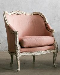 One of a Kind Vintage Louis XV French Style Bergere Chairs Pink Upholstery Pair