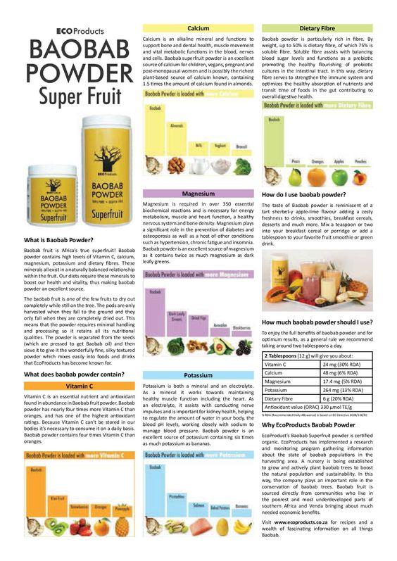 Nutritional Benefits of Baobab Powder - a summary: