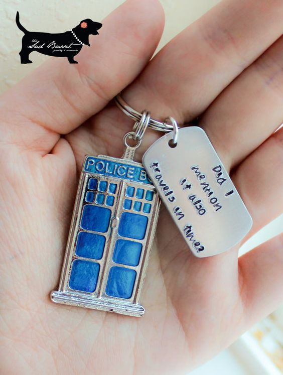 doctor who tardis keychain with hand stamped quote dr