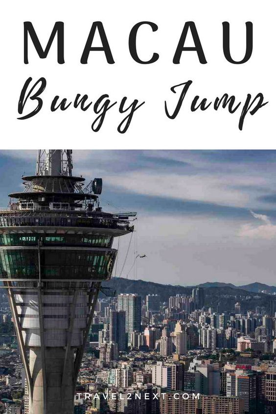 Macau Bungy Jump – Highest in the world. Of all the places to visit in Macau, if it's an adrenalin rush that gets you going head for Macau Tower. #macau #bungyjump #macautower #skywalk