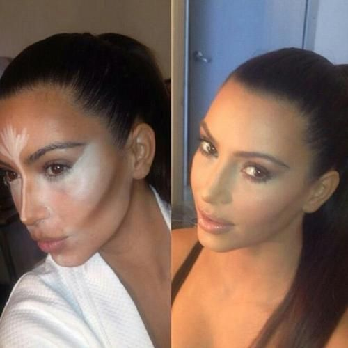 Kim Kardashian's makeup team uses old drag queen tricks. If you want to know how to get the look- watch Rupaul's Drag Race on Netflix. Plain and simple! It's not rude- it's truth.
