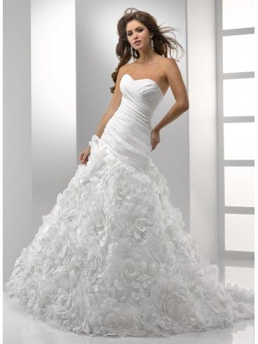 A-ligne sweetheart sans bretelles robe de mariée en taffetas organza