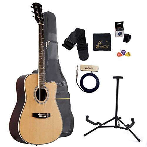 Aileen 41 Inch Full Size Spruce Cutaway Acoustic Guitar With Bag Stand Soundhole Pickup Tuner Natural You Can Get More Det Guitar Acoustic Guitar Bag Stand