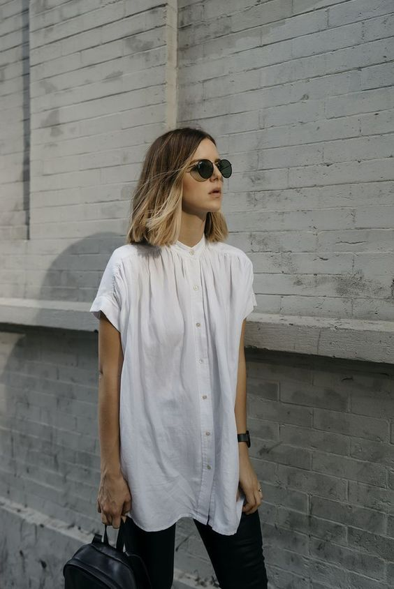 usually I don't wear button downs but in a soft nicely draping fabric I would!  also j like the high neckline.