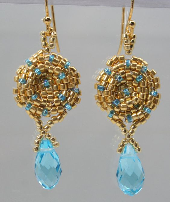Aqua Drop Earrings Delicate Medallion Old World Gold Mediterranean Jewelry Look with Turquoise Blue Accents