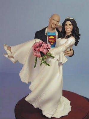 Bride And Groom Wedding Cake Topper The Has On A Superman T Shirt