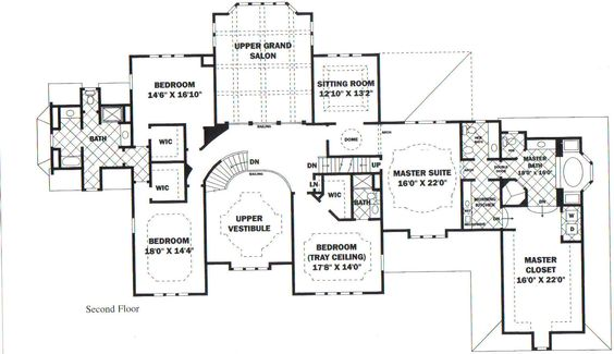 Second floor plan blueprints dream homes pinterest for Mansion house plans with elevators