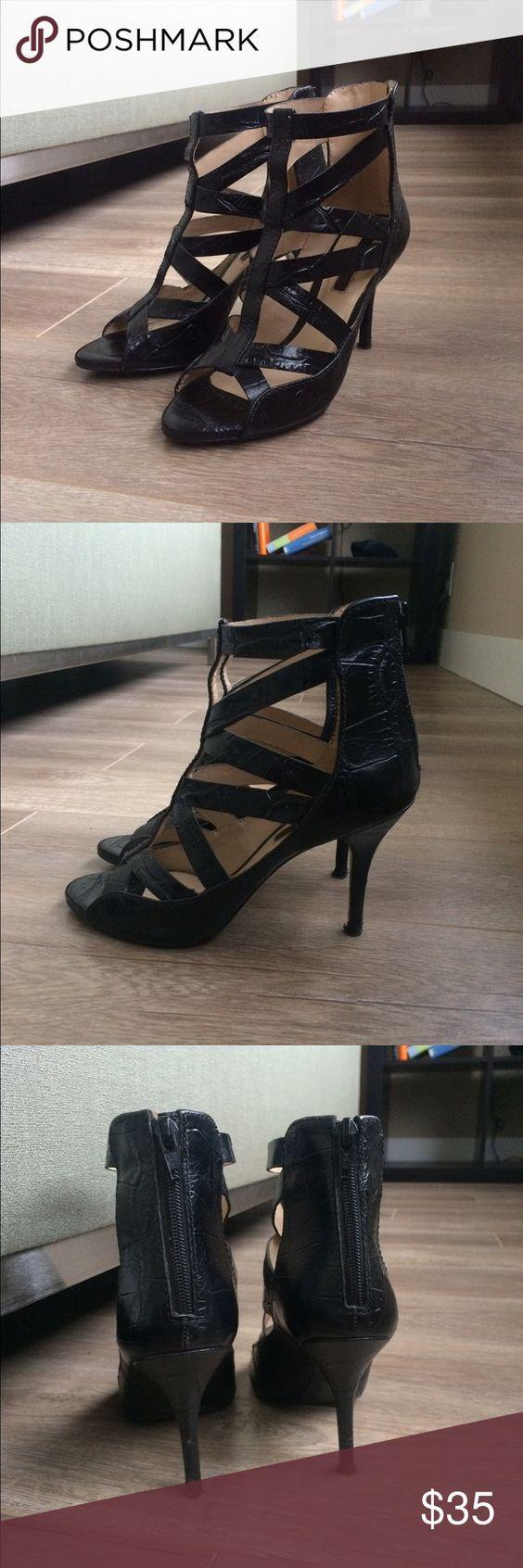 Black sandals size 7 - Zara Caged Black Sandals Size 7 Black Crocodile Embossed Sandals By Zara Size 7