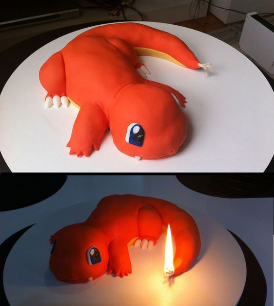 The Charmander cake I made for my cousin. Too bad he killed it by making a wish. - Imgur