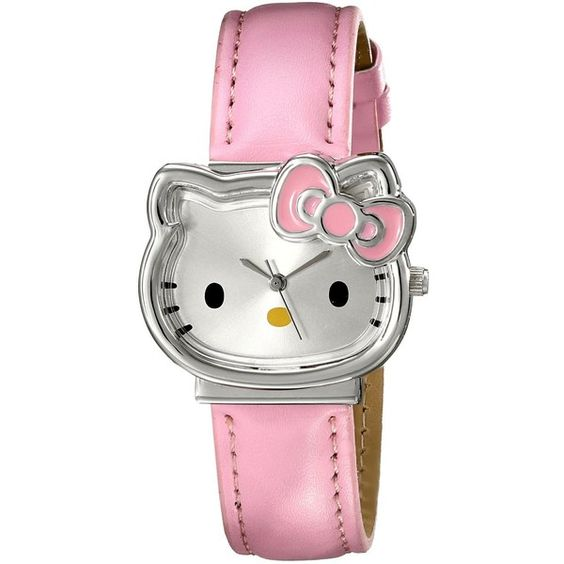Hello Kitty Girl's HK1880J Analog Display Quartz Pink Watch (£15) ❤ liked on Polyvore featuring jewelry, watches, hello kitty, quartz watches, hello kitty watches, analog wrist watch and pink quartz jewelry