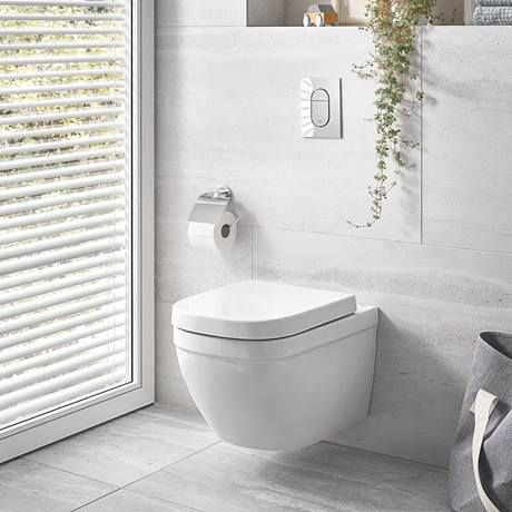 Grohe Euro Rimless Wall Hung Toilet With Soft Close Seat In 2020 Wall Hung Toilet Toilet Concealed Cistern