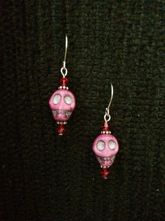 Fun color! Perfect for Día de los Muertos! Purple Skull and Crystal Earrings  on Etsy, $10.00